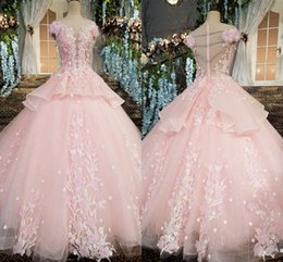 flower girls short lace dresses Canada - Princess Blush Floral Lace Quinceanera Dresses For Sweet 16 Girls Hand Made Flowers Short Sleeve Ruffles Ball Gown Prom Graduation Gowns