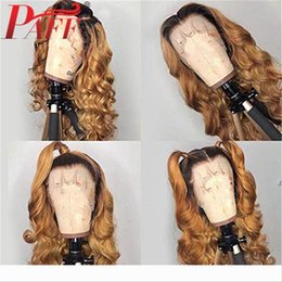 blonde body wave full lace UK - PAFF Ombre Blonde Color Wigs Full Lace Human Hair Wigs Glueless Full Lace Wigs Bleached Knots Free Part Remy Body Wave