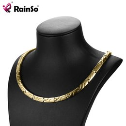 Chain Heal Australia - Rainso Magnetic Necklaces Health For Arthritis Bio Energy Healing Titanium Power Necklace For Women Link Chain Necklace Y19050802