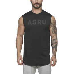 Man tank t shirts online shopping - 2019 Spring Summer Men s Fitness Vest ASRU Letters Print Sleeveless T Shirt For Men Sports Tank Tops Size M XL