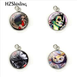 $enCountryForm.capitalKeyWord Australia - Vintage Skull Rose Cats Lady Dome Glass Cabochon Hand Craft Stainless Steel Pendant Charms Fashion Jewelry Ornaments
