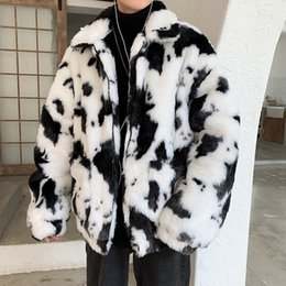 Wholesale mens leather parkas resale online – Mens Luxury Fur Coats Faux Fur Jackets Outerwear Parka Overcoat Big Size XL Lovers Cow Leather And Fur Keep Warm Man Loose Coat