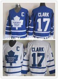 Дешевые пользовательские #17 Венделл Кларк мужские белый синий CCM трикотажные изделия новый Торонто кленовые листья мужские персонализированные шить трикотажные изделия на Распродаже