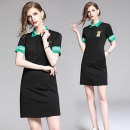 Young Girl Shirts Australia - Short Sleeve Dress for Women Hot New Polos Collar T-shirt Dress Summer Young Girl Dress Fashion Casual Lapel Office Dresses