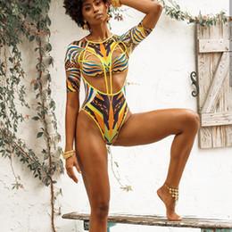c7e6f1cae12ac High Cut African Print Swimsuit Women One Piece Push Up Monokini Tassel  Bandage Swimsuit 2019 Swim Suit Plus Size Bathing Suit
