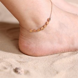 gold discs NZ - BIG J.W Trendy Stainless Steel Link Chain Anklets for Women Rose Gold Disc Charm Anklets Bracelet Holiday Beach Foot Jewelry