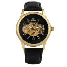 Unique Watches For Men Australia - Golden Case Skeleton Hand-winding Watches for Male Unique Hollow Out Dial Mechanical Watch for Men Durable Black Leather Band Wristwatch