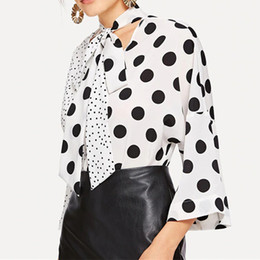 Discount polka dot spring blouse 2019 Spring Polka Dots Printed V Neck Women Casual Office Shirts Blouse Belt Front Long Sleeve Chiffon Tops Shirts Blous