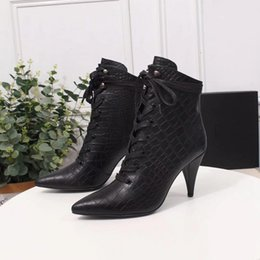 e strap Australia - High-heeled boots Paris designer pointed straps E Fish leather fashion shoes black luxury high-quality party wedding dress high shoes 35-40