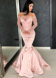 $enCountryForm.capitalKeyWord Australia - Rose Pink Evening Dresses 2019 Off The Shoulders Long Sleeved Prom Gowns See Through With Beadings Pageant Dress