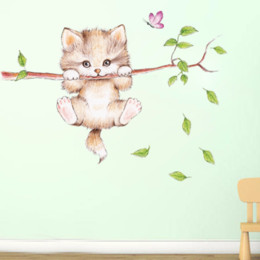 $enCountryForm.capitalKeyWord UK - Cute cat hanging on a branch chasing a child bedroom home wall sticker decorated butterfly game label cartoon applique DIY