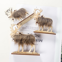 christmas tables NZ - Christmas Wooden Felt Elk Xmas Table Decoration with Simulated Hair Wedding Desktop Decor Toy Simulation Deer S-L