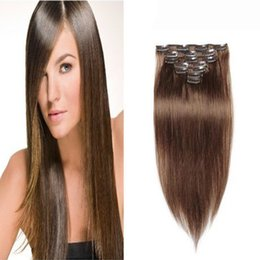 """Clip Human Hair Extensions Remy 24 Australia - Remy Clip In Full Head 10""""- 24"""" Clip In Human Hair Extensions Straight Can Cur 8 Pieces Set 100% Human Hair Extension"""