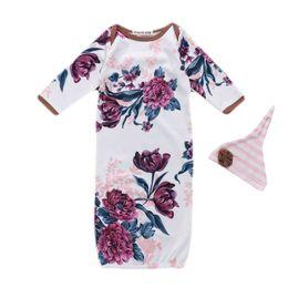 8866c5d7923b Newborn Baby Sleeping Bag White Long Sleeve Peony Printing Sleeping Bag Infant  Baby Gown Layette Soft Sleeper 48