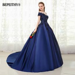 $enCountryForm.capitalKeyWord Australia - BEPEITHY V-neck Navy Blue Long Evening Dress Lace Beaded Vintage Prom Gowns Vestido De Festa Off The Shoulder Cheap Evening Gown