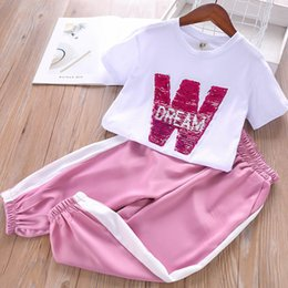 $enCountryForm.capitalKeyWord Australia - Fashion girls boutique outfits kids summer clothes girls suits sequin T shirt+Harem Pants kids tracksuit kids designer clothes girls A5267
