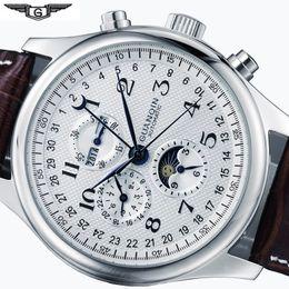 $enCountryForm.capitalKeyWord Australia - Mens Mechanical Watches Mens Watches Top Brand Luxury Date Week Moon Phase Watch Men Leather Waterproof Automatic Watch Clock J190706