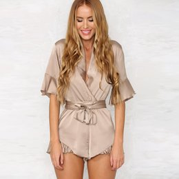 $enCountryForm.capitalKeyWord Australia - Sexy Deep V Neck Jumpsuit Ruffles Satin Sleepwear Elegant Female Romper Short Sleeve Sexy Playsuit Bow Beach Overalls for Women