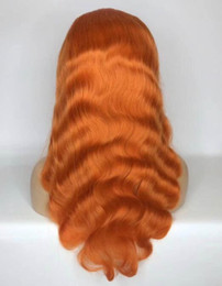 $enCountryForm.capitalKeyWord Australia - Celebrity Wigs Full Lace Wig Orange Color Body Wave 130% Density Vrgin Malaysian Human Hair Lace Front Wig for Black Woman Free Shipping
