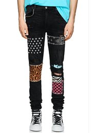 Leopard men s pants online shopping - New Brand Mens Designer Jeans Stars and Leopard Geometric Print Pencil Pants Rivet Holes Fashion Pants