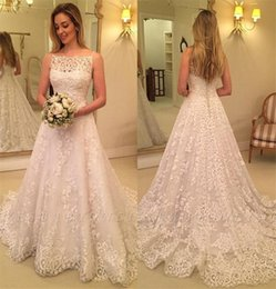 model vintage dress NZ - Vintage Full Lace Garden Wedding Dresses A Line Spaghetti Straps Sweep Train 2020 Formal Boho Bridal Gowns