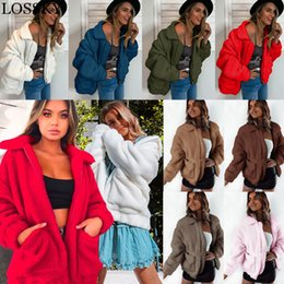 overcoat camel Canada - Plus Size Fleece Fur Jacket Coat Women Autumn Winter Plush Warm Thick Teddy Zipper Camel Coat Casual Female Outerwear Overcoat