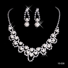 China 15036 Hot Sale Holy Rhinestone Crystal Earring Pearls Necklace Set Bridal Party Lobster Clasp Cheap Jewel Sets for Prom Evening Wedding supplier water pearls for sale suppliers