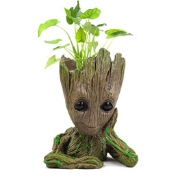 China Tree Man Baby Anime Action Figure Dolls Penholder Guardians of The Galaxy 2 Model Hero pen pot and flower pot Toys groot cheap south korea pen suppliers