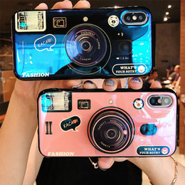 Wholesalers For Iphone Cases Australia - 2019 new trend antique camera design blue-ray IMD lanyard phone case cover compatible brand for iPhone for Samsung for Huawei