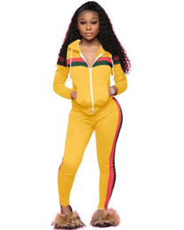 Wholesale united states baseball online – oversize Women s Tracksuits Women s sportswear Europe and the United States sexy women s stitching casual sports hooded two piece
