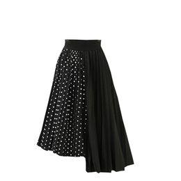 $enCountryForm.capitalKeyWord UK - Womail Skirt Women Spring Summer Dot Elastic High Waist Long Mesh Skirt Womens Fashion Pleated Drape Swing Loose May 15