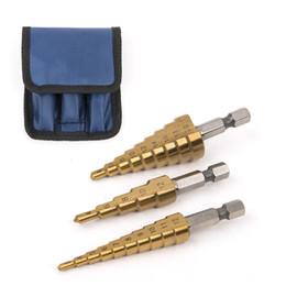$enCountryForm.capitalKeyWord Australia - Tools Drill Bit 3pcs HSS Steel Titanium Step Drill Bits 3-12 4-12mm 4-20mm Step Cone Cutting Tools Steel Woodworking Wood Metal Drilling Set