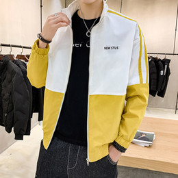 Patchwork Design Men Casual Sport Jacket Polyester Man Long Sleeve Clothing Size M-5XL Black Khaki Yellow Colors