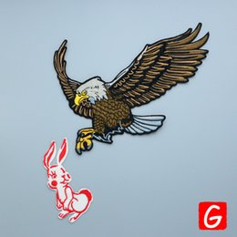 Discount rabbit patch - GUGUTREE embroidery big eagle rabbit patch animal patches badges applique patches for clothing DX-13