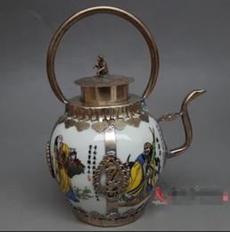 $enCountryForm.capitalKeyWord Australia - Antique white copper porcelain porcelain eight fairy pot ornaments hip flask teapot home decoration craft gift antiques collection