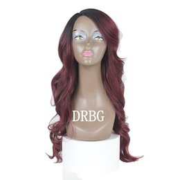 Ombre hair black blue online shopping - Cheap Blonde Ombre Color Wig Natural Black Purple Body Wave Hair Wigs Blue High Quality Heat Resistant Synthetic Straight Lace Wigs