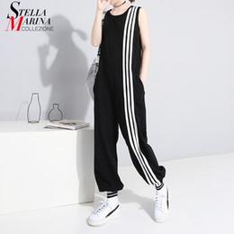 $enCountryForm.capitalKeyWord Australia - 2019 Korean Style Women Summer Long Black Jumpsuit Romper Sleeveless Striped Lady Casual Loose Overalls Jump Suit Playsuit 3644 Y19071701