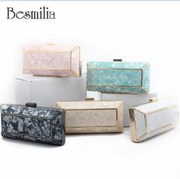 Blue Box Plain Australia - Fashion Design Marble Pattern Ladies Handbag Box Shape Shell Bag Clutch Evening Bag Chain Shoulder Cross Body Bag Party Purse