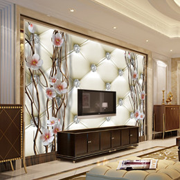 Chinese tv paCkage online shopping - Custom Mural Wallpaper D Embossed Diamond Plum Branches Wall Painting Art Soft Package Living Room TV Backdrop Home Decor Paper
