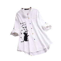 women blouse butterfly print Australia - Hot Sale Blouses and Shirts for Ladies Cat Butterfly Cartoon Printed T Shirt Color Button Long Sleeve Shirt Women