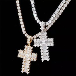rose cross pendant silver Australia - hip hop iced out chains bling diamond cross pendant necklaces luxury designer gold silver rose gold pendants 18 inches tennis chain jewelry