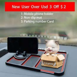 carbon card holder UK - Stickers Silicone Phone Holder Temporary No parking Card Number Car Phone Mat Holder Dashboard For Car On The Panel Coin
