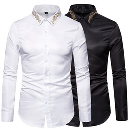 long shirt design male Australia - Mens Western Cowboy Shirt Stylish Embroidered Slim Fit Long Sleeve Party Shirts Men Brand Design Banquet Button Down Shirt Male YS009