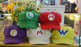 2f4664a3f32675 Super Mario Bros Anime Cosplay Red Cap Tag Super cotton hat Super mario  hats Luigi hat 5 colors Free shipping B11