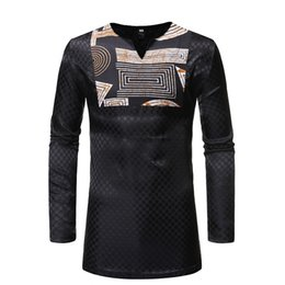 $enCountryForm.capitalKeyWord NZ - Plus Size African Clothing Patchwork Cotton Shirt Men's V-Neck Long Sleeves Dot Print Tribal Ankara Top For Men Oversized Black