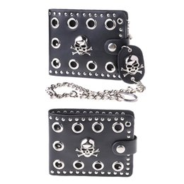 cool women wallets Australia - Leather Cool Punk Gothic Western Skull Clutch Purse Wallets With Chain For Men