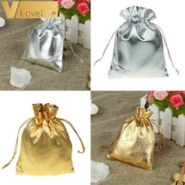 Gold Christmas Candy Gift Bags Australia - 50pcs Organza Pouches Wedding Party Candy Bags Gold Silver Metallic Foil Gifts Box Christmas Tree Decorations Wholesale