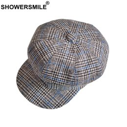 $enCountryForm.capitalKeyWord Australia - wholesale Tweed Gatsby Newsboy Cap Women Khaki Newspaper Hat Casual Plaid Retro Houndstooth Flat Cap Men Autumn Octagonal Caps