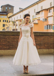 organza wedding dresses flower belt NZ - short cheap Vintage Wedding Dresses 2020 Cap Sleeves Lace Beads flower belt pleated Buttons Short Ankle Length Sash Organza Bridal gowns