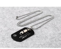 Silver Wholesale Chain Usa Australia - Hip hop Men's Bullet shape Pendant Necklaces USA army Military card Dog Tag Charm Bead chains For women Rapper Jewelry